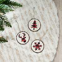 Buffalo Check Christmas Icon Ornaments, Set of 3