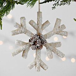 Snowflake With Pine Cone Ornament