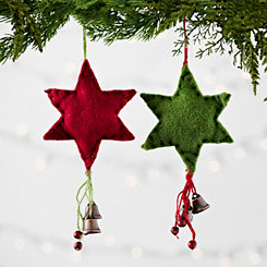 Red and Green Felt Star Ornaments, Set of 2