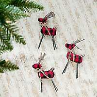 Buffalo Check Deer Ornaments, Set of 3