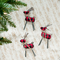 Buffalo Check Deer Ornaments, Set of 3