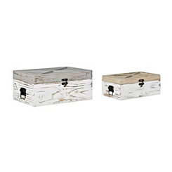 Weathered Blue and Natural Wood Boxes, Set of 2