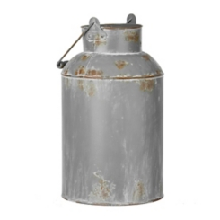 Gray Metal Milk Can Vase