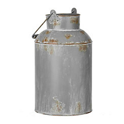 Gray Metal Milk Can Vase