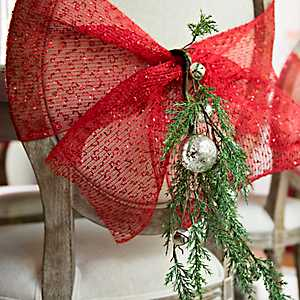 Decorative Red Mesh Ribbon, 10 in.