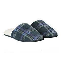 Blue Plaid Men's Slippers, L