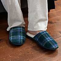 Blue Plaid Men's Slippers, XL