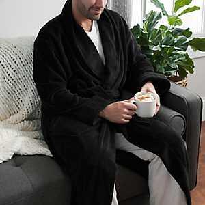 Plush Black Men's Robe