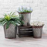 Galvanized Metal Olive Buckets, Set of 3