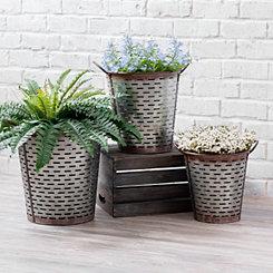 Galvanized Metal Olive Buckets, Set of 3