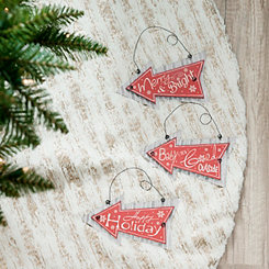 Merry Christmas Arrow Ornaments, Set of 3
