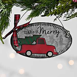 Red Truck Galvanized Metal Sign Ornament