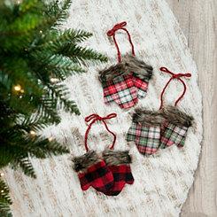 Plaid Mitten Ornaments, Set of 3