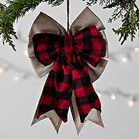 Red and Black Buffalo Check Bow Ornament