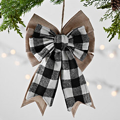 Black and White Buffalo Check Bow Ornament
