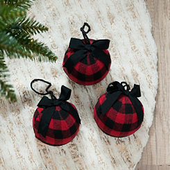 Red Buffalo Check Ball Ornaments, Set of 3