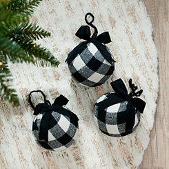 Black Buffalo Check Ball Ornaments, Set of 3