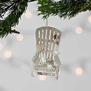 White Coastal Beach Chair Ornament