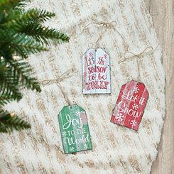Christmas Tags Ornaments, Set of 3