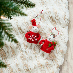 Felt Mice Ornaments, Set of 2