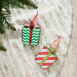 Patterned Presents Ornaments, Set of 2