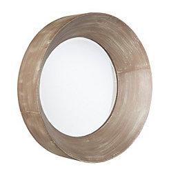 Holly and Martin Antique Brown Round Mirror