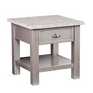 Felicia Faux Marble End Table