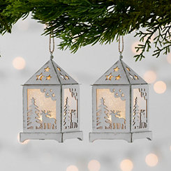 Cream LED Lantern Ornament, Set of 2