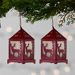Red LED Lantern Ornament, Set of 2
