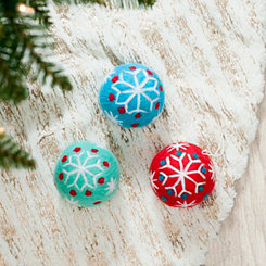 Snowflake Pattern Ball Ornaments, Set of 3