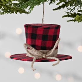 Buffalo Check Top Hat Ornament