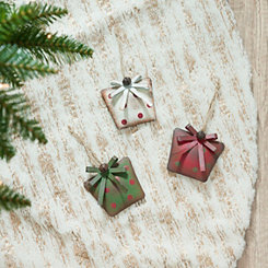 Christmas Present Ornaments, Set of 3