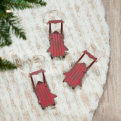 Metal Red Sled Ornaments, Set of 3