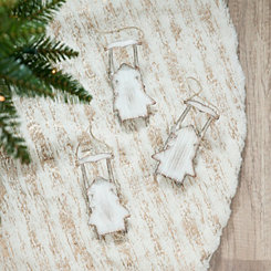 Metal Cream Sled Ornaments, Set of 2