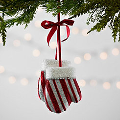 Red and White Striped Mittens Ornament