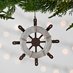 Rusted Ship Wheel Ornament