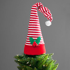 Red and White Elf Hat Tree Topper