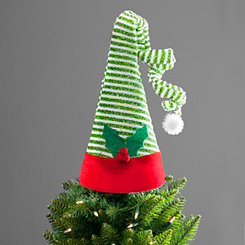 Green and White Elf Hat Tree Topper