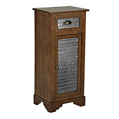 Galvanized Metal and Wood 1-Door Cabinet