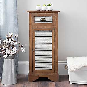 Galvanized Metal and Wood 1-Door Cabinet