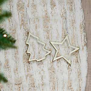 Ceramic Cutout Tree and Star Ornaments, Set of 2