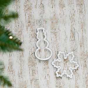 Ceramic Cutout Snow Icon Ornaments, Set of 2