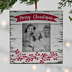 White Merry Frame Ornament