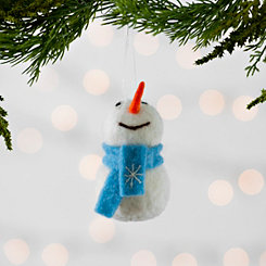 Felt Snowman with Blue Scarf Ornament