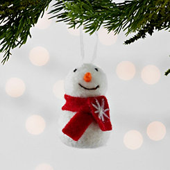 Felt Snowman with Red Scarf Ornament