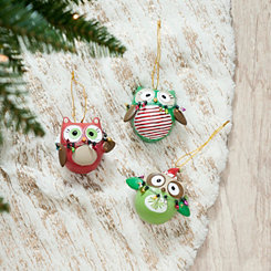 Resin Owl Ornaments, Set of 3