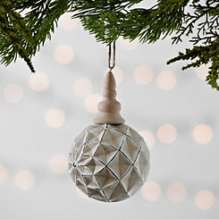 Glass Wood Flower Ball Ornament