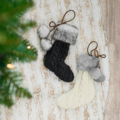 Knit Stocking Ornament, Set of 2