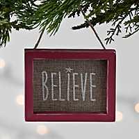 Burlap Believe Frame Ornament