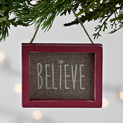 Burlap Believe Frame Ornament